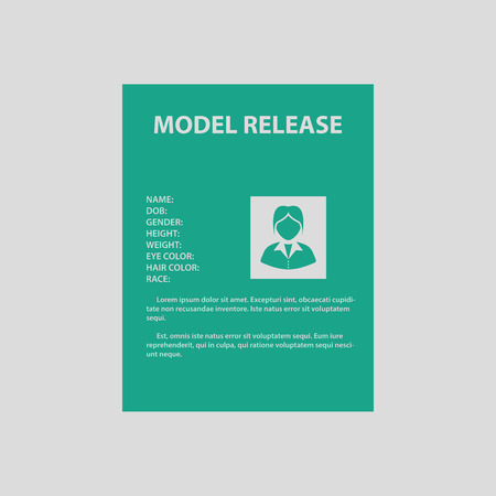 model release: Icon of model release document. Gray background with green. Vector illustration.