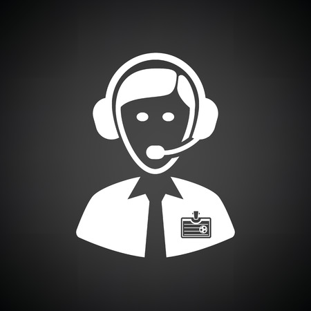 commentator: Soccer commentator icon. Black background with white. Vector illustration.