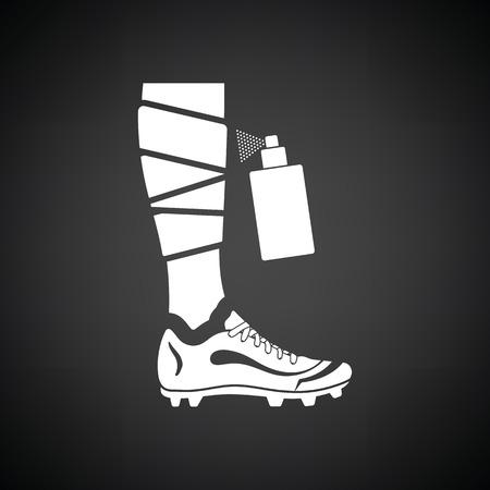 anesthetic: Soccer bandaged leg with aerosol anesthetic icon. Black background with white. Vector illustration.