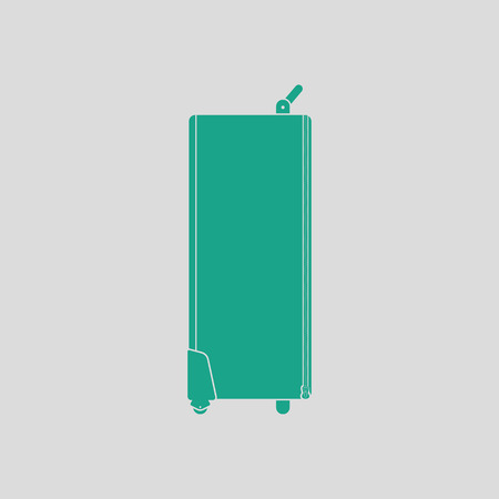tubus: Icon of studio photo light bag. Gray background with green. Vector illustration.