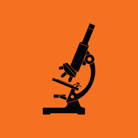 Icon of chemistry microscope. Orange background with black. Vector illustration.
