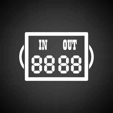 replace: Soccer referee replace scoreboard  icon. Black background with white. Vector illustration.
