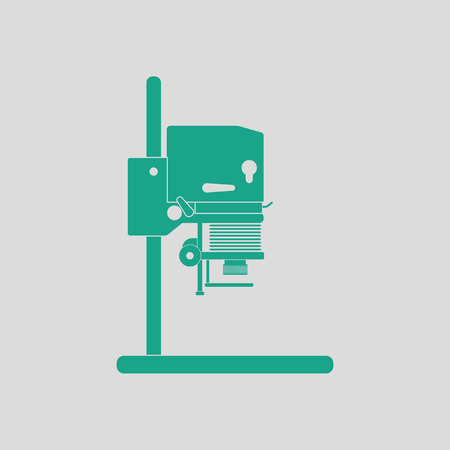 Icon of photo enlarger. Gray background with green. Vector illustration. Çizim