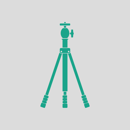 Icon of photo tripod. Gray background with green. Vector illustration.