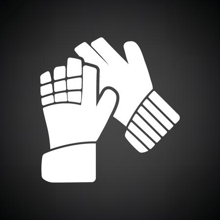 portero de futbol: Soccer goalkeeper gloves icon. Black background with white. Vector illustration.