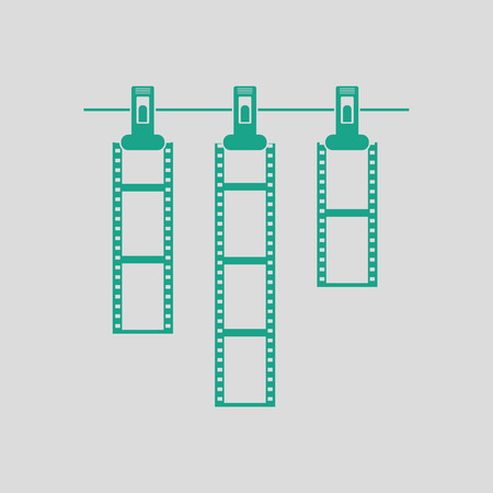film title: Icon of photo film drying on rope with clothespin. Gray background with green. Vector illustration. Illustration
