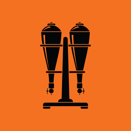 siphon: Soda siphon equipment icon. Orange background with black. Vector illustration.