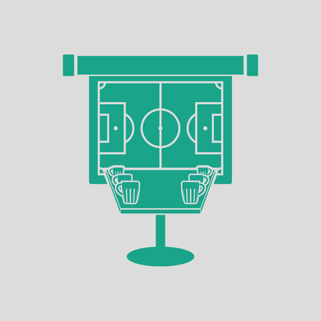 bar table: Sport bar table with mugs of beer and football translation on projection screen icon. Gray background with green. Vector illustration.