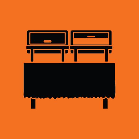 warmer: Chafing dish icon. Orange background with black. Vector illustration. Illustration