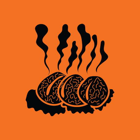 raw beef: Smoking cutlet icon. Orange background with black. Vector illustration.