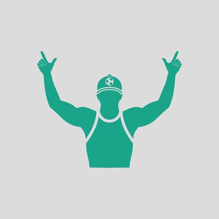 Football fan with hands up icon. Gray background with green. Vector illustration. Illustration