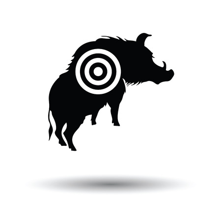 Boar silhouette with target icon. White background with shadow design. Vector illustration.