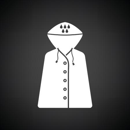 raincoat: Raincoat icon. Black background with white. Vector illustration.