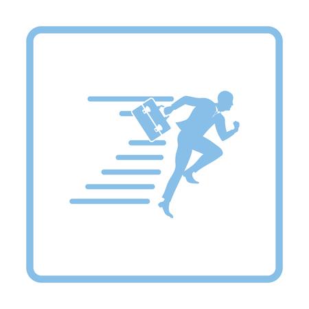 suit case: Accelerating businessman icon. Blue frame design. Vector illustration.