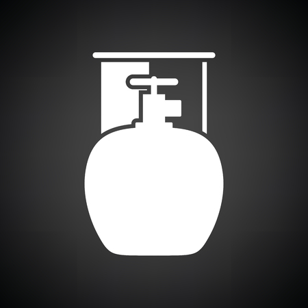 fillup: Camping gas container icon. Black background with white. Vector illustration.