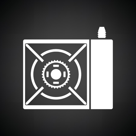 comfort food: Camping gas burner stove icon. Black background with white. Vector illustration.
