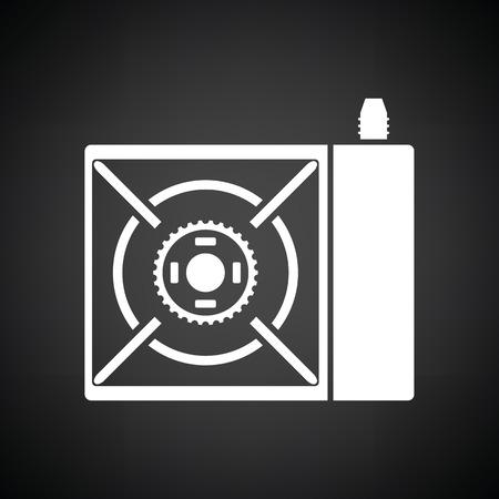 travel burner: Camping gas burner stove icon. Black background with white. Vector illustration.