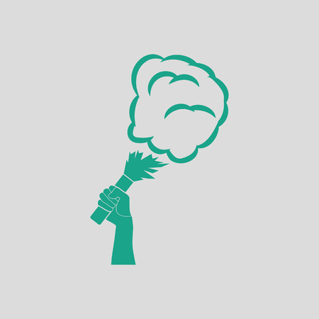 ultras: Football fans hand holding burned flayer with smoke icon. Gray background with green. Vector illustration.
