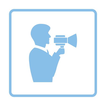 mouthpiece: Man with mouthpiece icon. Blue frame design. Vector illustration.