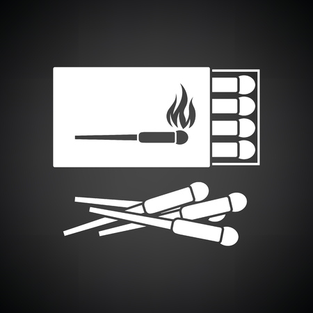 match box: Match box  icon. Black background with white. Vector illustration.