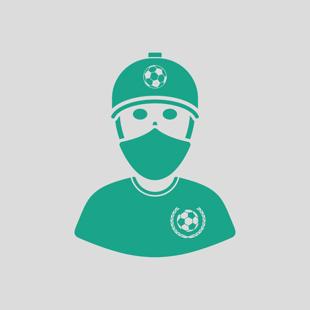 green face: Football fan with covered  face by scarf icon. Gray background with green. Vector illustration. Illustration