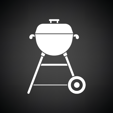 Barbecue  icon. Black background with white. Vector illustration.