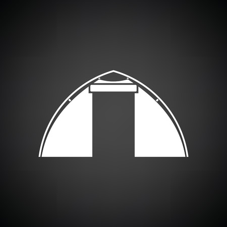 solitary: Touristic tent  icon. Black background with white. Vector illustration.