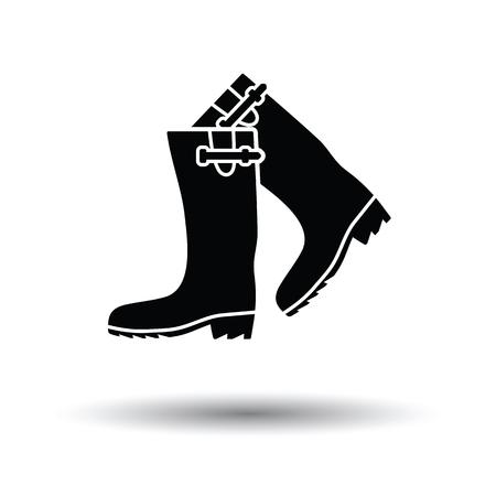 zapatos de seguridad: icono de botas de goma de Hunter. fondo blanco con el diseño de la sombra. Ilustración del vector. Vectores