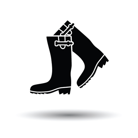 Hunters rubber boots icon. White background with shadow design. Vector illustration.