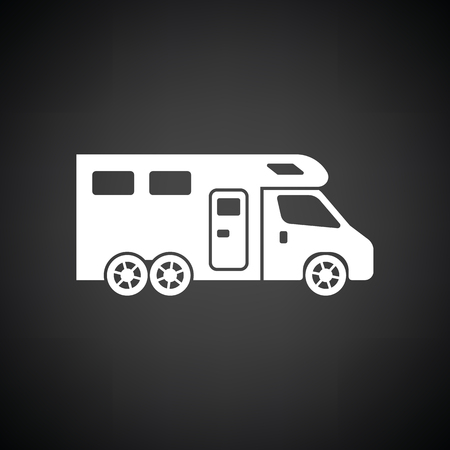 black family: Camping family caravan  icon. Black background with white. Vector illustration. Illustration