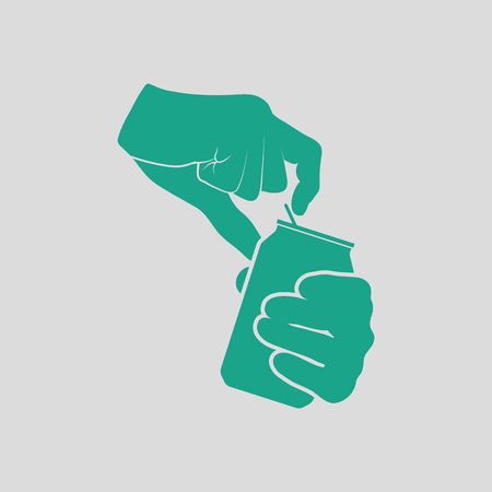 aluminum background: Human hands opening aluminum can icon. Gray background with green. Vector illustration.