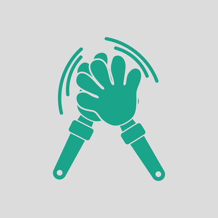 Football fans clap hand toy icon. Gray background with green. Vector illustration. Illustration