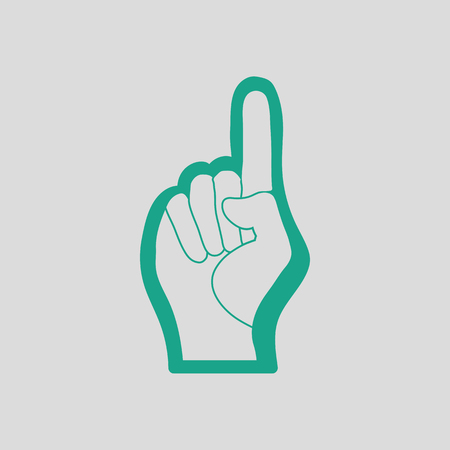 foam hand: Fan foam hand with number one gesture icon. Gray background with green. Vector illustration. Illustration