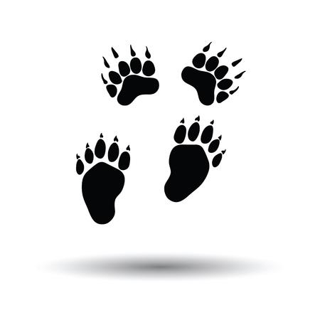 Icône de sentiers d'ours. Fond blanc avec un design d'ombre. Illustration vectorielle