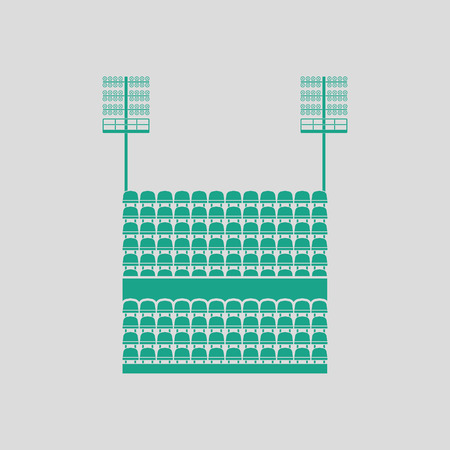 ligh: Stadium tribune with seats and light mast icon. Gray background with green. Vector illustration.