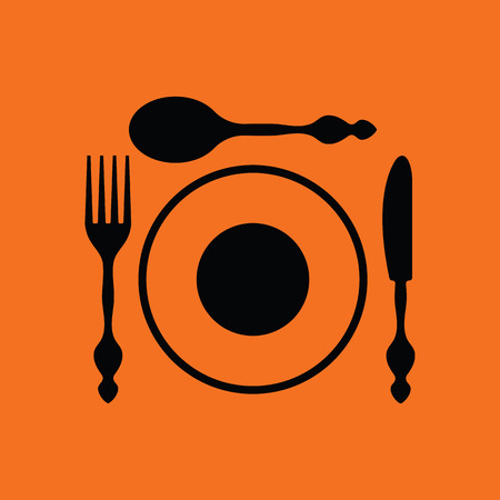 silverware: Silverware and plate icon . Orange background with black. Vector illustration.