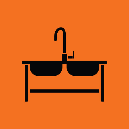 double sink: Double sink icon. Orange background with black. Vector illustration.