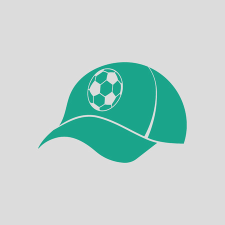 Football fans cap icon. Gray background with green. Vector illustration. Illustration