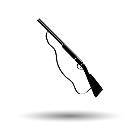Hunting gun icon. White background with shadow design. Vector illustration.