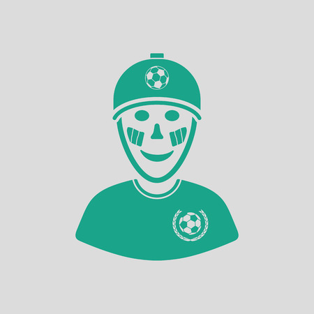 Football fan with painted face by italian flags icon. Gray background with green. Vector illustration. Illustration