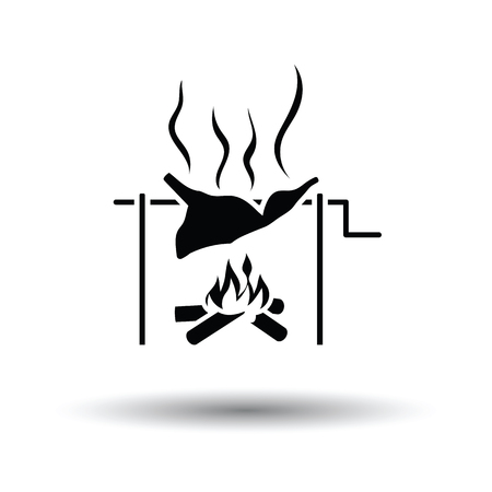 roasting: Roasting meat on fire icon. White background with shadow design. Vector illustration.