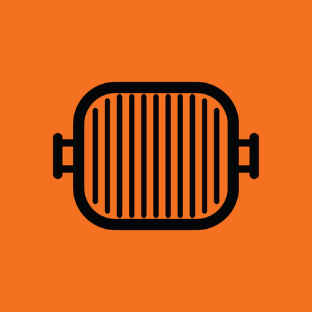 Grill pan icon. Orange background with black. Vector illustration.