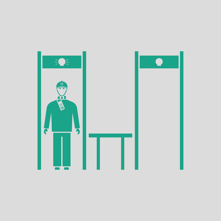 inspecting: Stadium metal detector frame with inspecting fan icon. Gray background with green. Vector illustration.