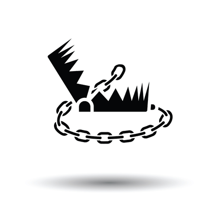 bear trap: Bear hunting trap  icon. White background with shadow design. Vector illustration. Illustration