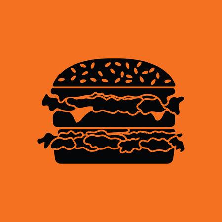 junkfood: Hamburger icon. Orange background with black. Vector illustration. Illustration