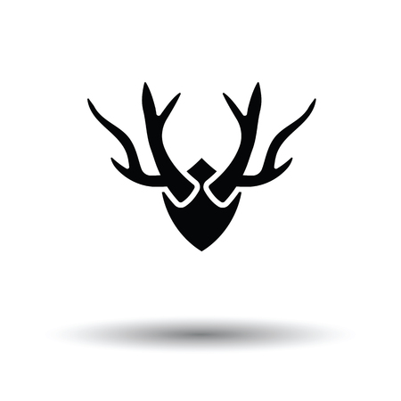 taxidermy: Deers antlers  icon. White background with shadow design. Vector illustration.
