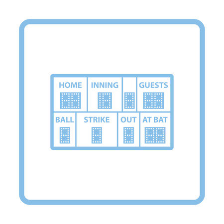 inning: Baseball scoreboard icon. Blue frame design. Vector illustration.