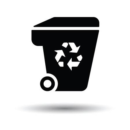 garbage container: Garbage container recycle sign icon. White background with shadow design. Vector illustration.