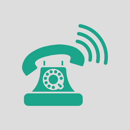 old telephone: Old telephone icon. Gray background with green. Vector illustration.
