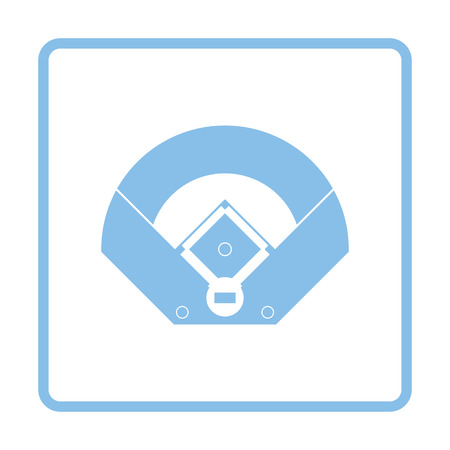 outfield: Baseball field aerial view icon. Blue frame design. Vector illustration.
